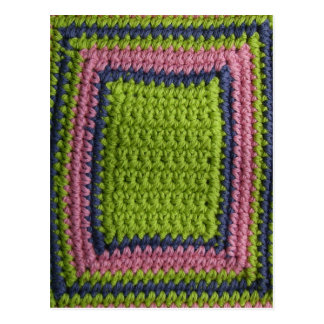 Crochet Blue, Green, Pink Postcard