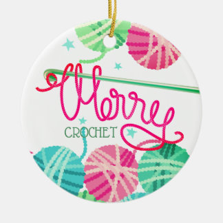 Crochet hook Merry Christmas yarn tree ornament
