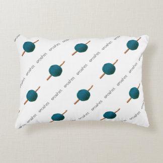 Crochet Hook & Teal Yarn Crafts Pattern Decorative Cushion