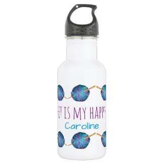 Crochet is my happy place, with your name 532 ml water bottle
