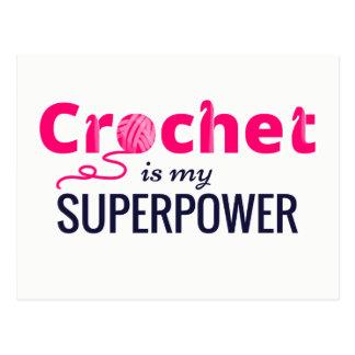 Crochet is My Superpower in Pink Postcard
