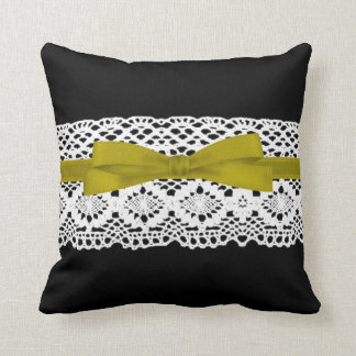crochet lace effect yellow ribbon damask cushion