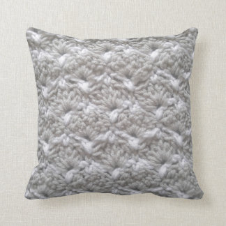 Crochet Shell Stitch Grey/White Yarn Crafts Cushions