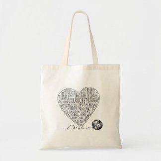 Crochet Words Tote Budget Tote Bag