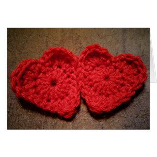 Crochet Yarn Hearts on Wood Handmade Card