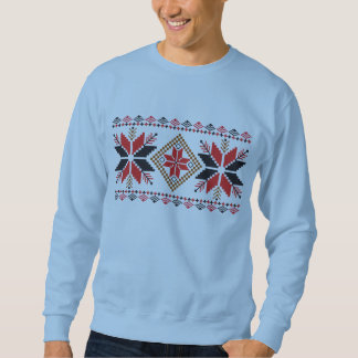 Crocheted Red Snowflakes Ugly Christmas Sweater Pull Over Sweatshirt
