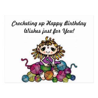 Crocheting Birthday Wishes Postcard