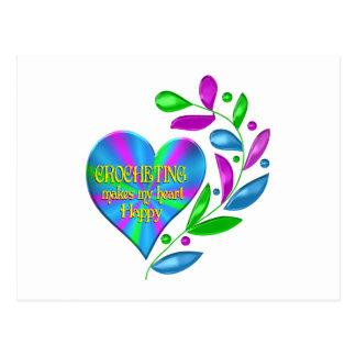 Crocheting Happy Heart Postcard