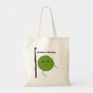 Crocheting humor tote bag
