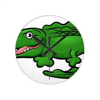 Crocodile Alligator Animal Cartoon Character Round Clock