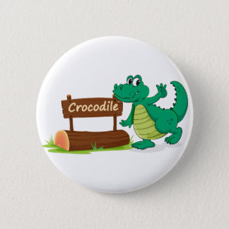 crocodile and name plate 6 cm round badge