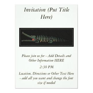 "Crocodile - Antiquarian Colorful Book Illustration 6.5"" X 8.75"" Invitation Card"