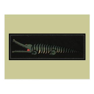 Crocodile - Antiquarian Colorful Book Illustration Postcards