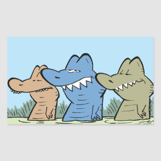 Crocodile Cartoon Character Rectangular Sticker