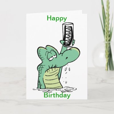 Crocodile Cartoon Funny Birthday Card