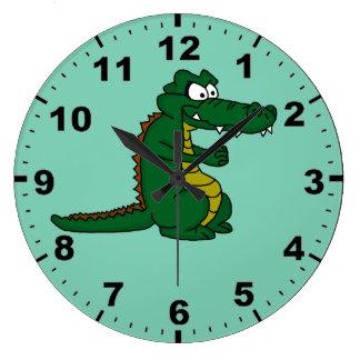 Crocodile design wrist watches large clock