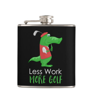 Crocodile Golfer Funny Hip Flask