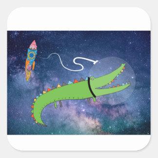 Crocodile in Space Childrens Art Square Sticker