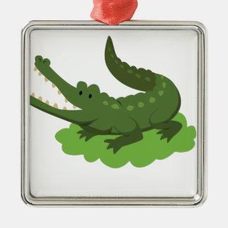 crocodile metal ornament
