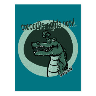 crocodile rights now blue postcard