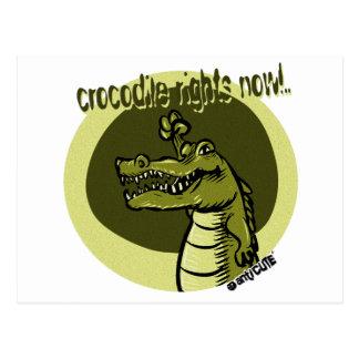 crocodile rights now green postcard