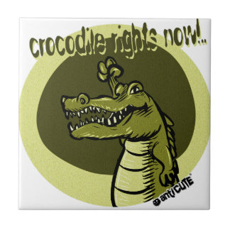 crocodile rights now green small square tile