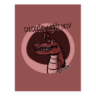 crocodile rights now red postcard