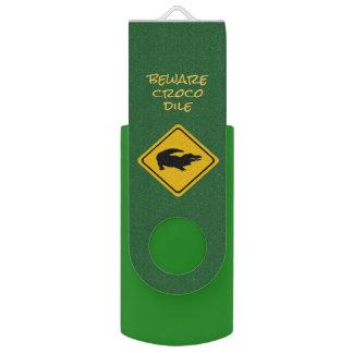 crocodile road sign - USB flashdrive USB Flash Drive