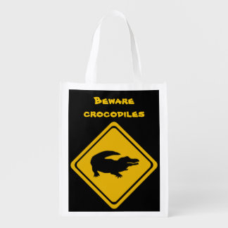 crocodile road sign grocery bags