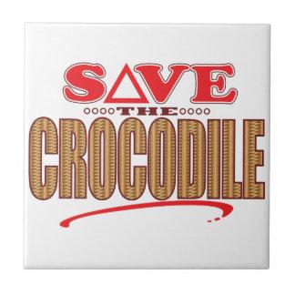 Crocodile Save Small Square Tile