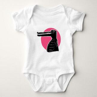 crocodile silhouette cartoon style illustration baby bodysuit