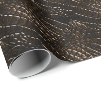 Crocodile Skin Wrapping Paper Black, Brown