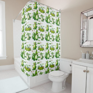 Crocodiles In The Pond Shower Curtain
