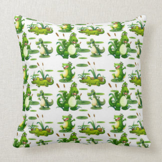 Crocodiles In The Pond Throw Pillow