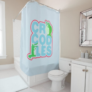 Crocodiles with two happy crocs - blue letters shower curtain