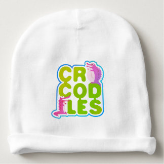 Crocodiles with two happy crocs - green letters baby beanie