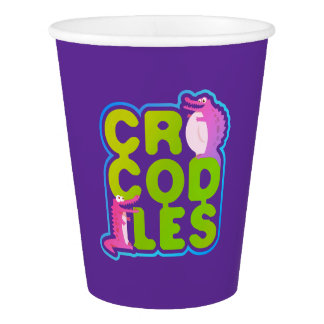 Crocodiles with two happy crocs - green letters paper cup