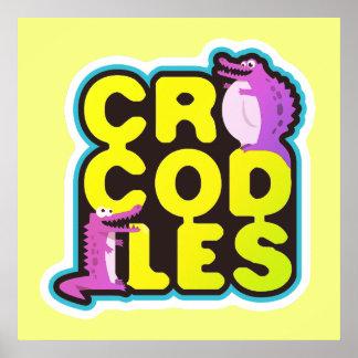 Crocodiles with two happy crocs - vivid poster