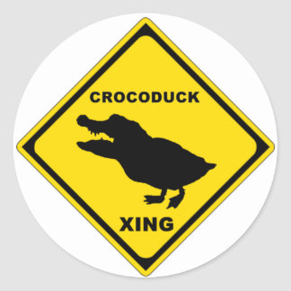 Crocoduck Crossing Classic Round Sticker