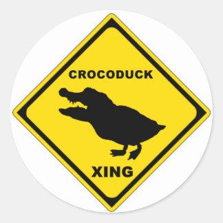 Crocoduck Crossing Round Sticker