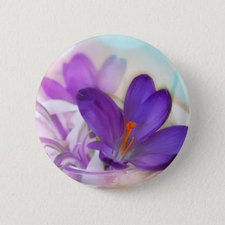 Crocus and Lily of the Valley Floral Arrangement . 6 Cm Round Badge