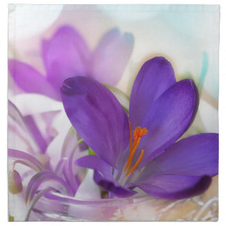 Crocus and Lily of the Valley Floral Arrangement . Napkin