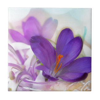 Crocus and Lily of the Valley Floral Arrangement . Tile