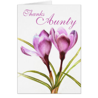 "Crocus art ""Thanks Aunty"" purple card"