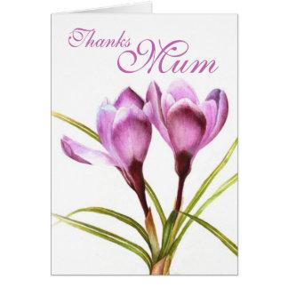 "Crocus art ""Thanks Mum"" purple card"