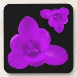 Crocus Flower Purple Cork Coaster