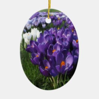 Crocus Flowers Painterly Ceramic Oval Decoration