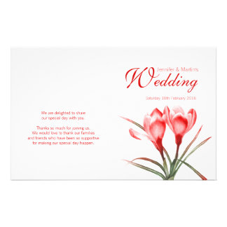 Crocus orange red floral wedding programme 14 cm x 21.5 cm flyer
