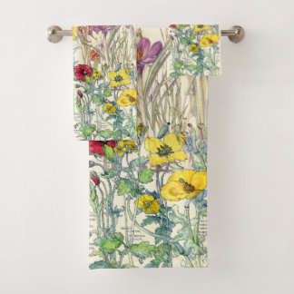 Crocus Poppy Iris Foxglove Flowers Bath Towel Set