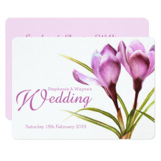 Crocus purple floral wedding invitation